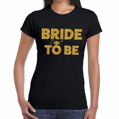 Bride to be glitter tekst t shirt zwart dames
