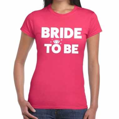 Bride to be tekst t shirt roze dames