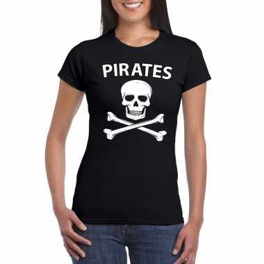 Carnavalskleding piraten shirt zwart dames