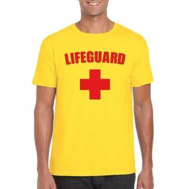 Carnavalskleding reddingsbrigade lifeguard shirt geel heren
