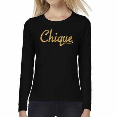 Chique goud glitter tekst t shirt long sleeve zwart dames