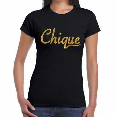 Chique goud glitter tekst t shirt zwart dames