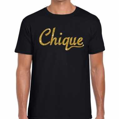Chique goud glitter tekst t shirt zwart heren