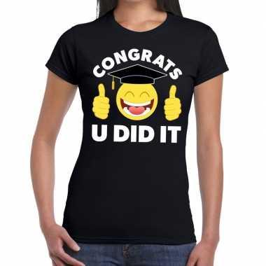 Congrats u did it t shirt geslaagd / afgestudeerd zwart dames