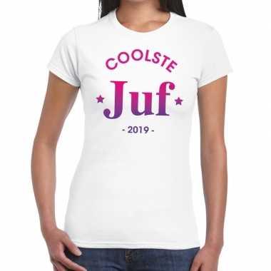 Coolste juf 2019 cadeau t shirt wit dames