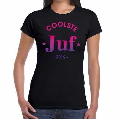 Coolste juf 2019 cadeau t shirt zwart dames