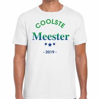 Coolste meester 2019 cadeau t-shirt wit heren