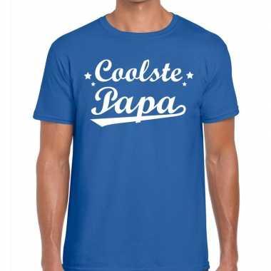 Coolste papa cadeau t shirt blauw heren