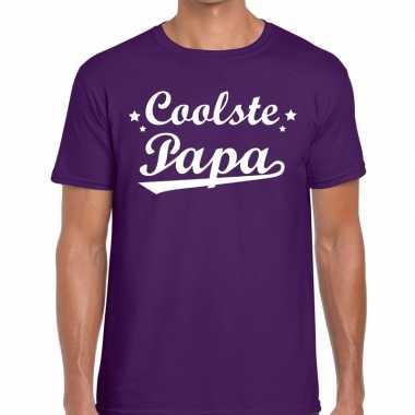 Coolste papa cadeau t shirt paars heren