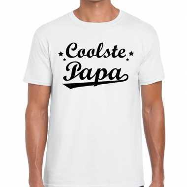 Coolste papa cadeau t shirt wit heren