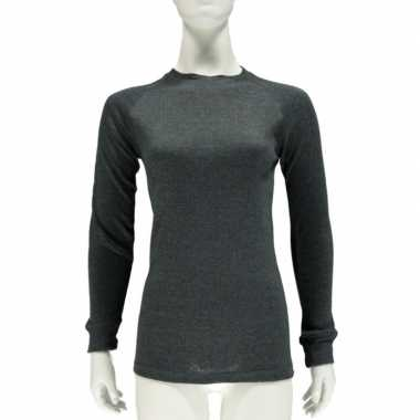 Dames thermo shirt antraciet lange mouw