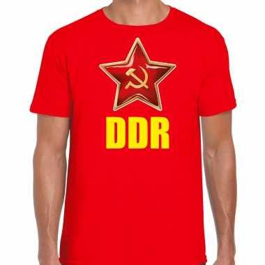 Ddr / duitsland verkleed t shirt rood heren