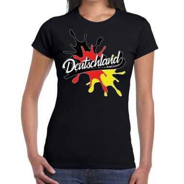 Deutschland/duitsland t shirt spetter zwart dames