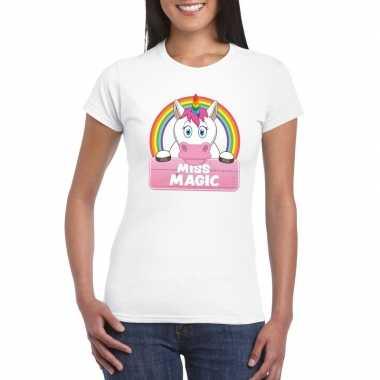 Dieren shirt wit miss magic eenhoorn dames