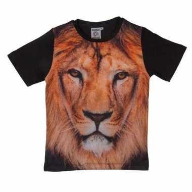 Dieren shirts fotoprint leeuw kinderen