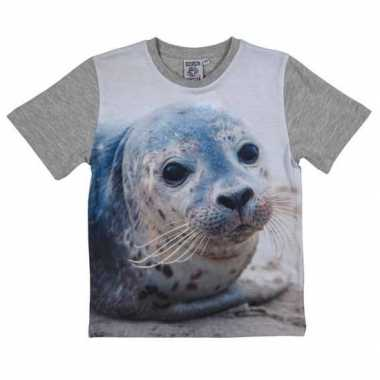 Dieren shirts fotoprint zeehond kinderen