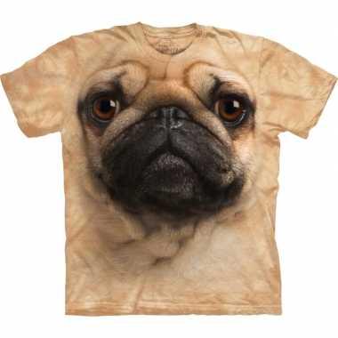 Dieren shirts mopshond bruin