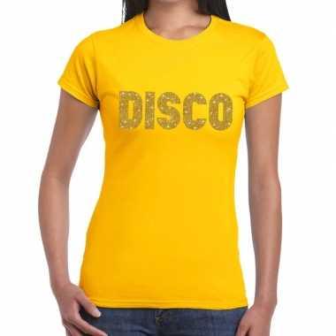 Disco goud glitter t shirt geel dames