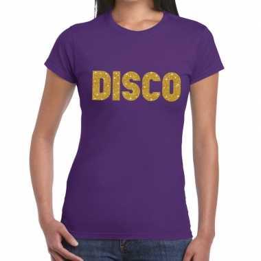 Disco goud glitter tekst t shirt paars dames