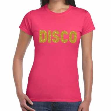 Disco goud glitter tekst t shirt roze dames
