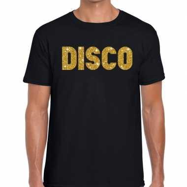 Disco gouden glitter tekst t shirt zwart heren
