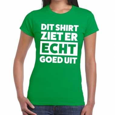 Dit shirt ziet er echt goed uit tekst t shirt groen dames