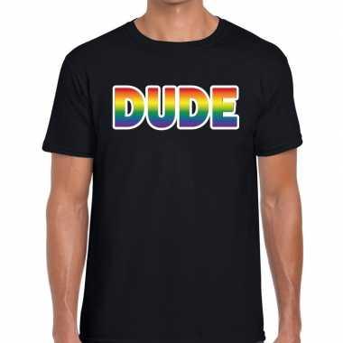 Dude regenboog gay pride shirt zwart heren