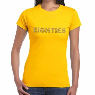 Eighties goud glitter t shirt geel dames