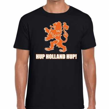 Ek / wk supporter t shirt hup holland hup zwart heren