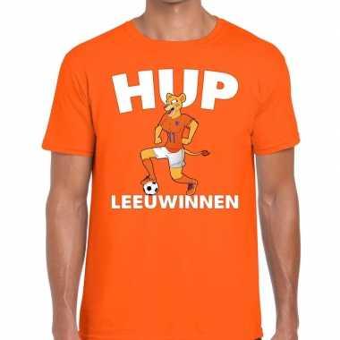 Ek / wk supporter t shirt hup leeuwinnen oranje heren