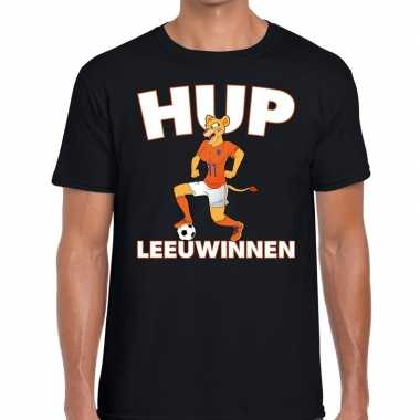 Ek / wk supporter t shirt hup leeuwinnen zwart heren
