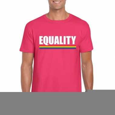 Equality shirt roze regenboog vlag heren