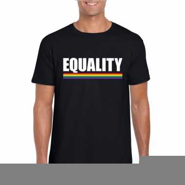 Equality shirt zwart regenboog vlag heren