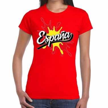 Espana/spanje t shirt spetter rood dames