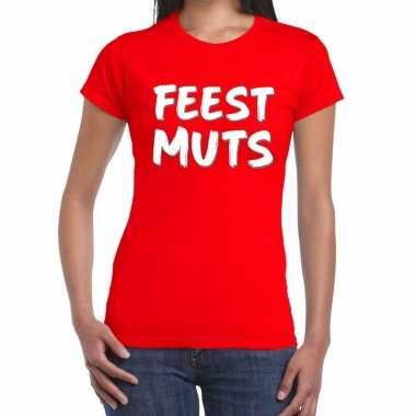 Feestmuts fun t shirt rood dames