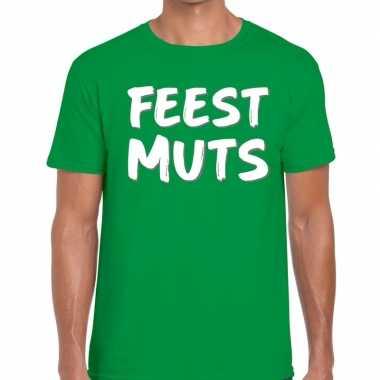 Feestmuts tekst t shirt groen heren