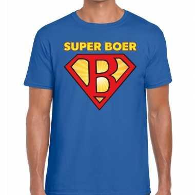 Festival shirt zwarte cross super boer blauw heren