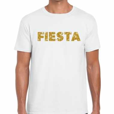 Fiesta goud glitter tekst t shirt wit heren