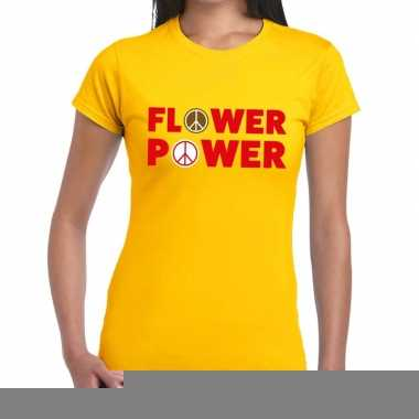 Flower power tekst t shirt geel dames