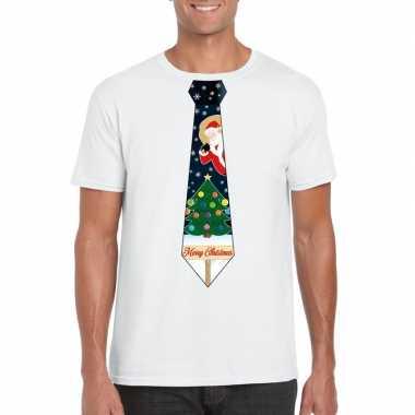 Fout kerst t shirt wit kerstboom stropdas heren
