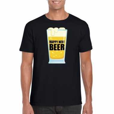 Fout oud nieuw t shirt happy new beer / year zwart heren