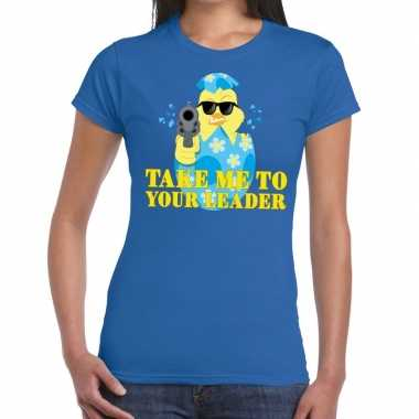 Fout paas t shirt blauw take me to your leader dames