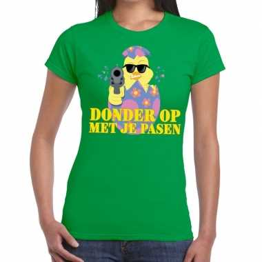 Fout paas t shirt groen donder je pasen dames