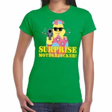 Fout paas t shirt groen surprise motherfucker dames