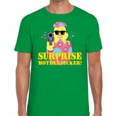 Fout paas t shirt groen surprise motherfucker heren