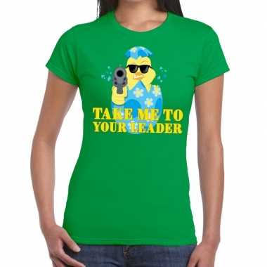 Fout paas t shirt groen take me to your leader dames