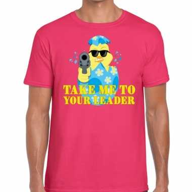 Fout paas t shirt roze take me to your leader heren