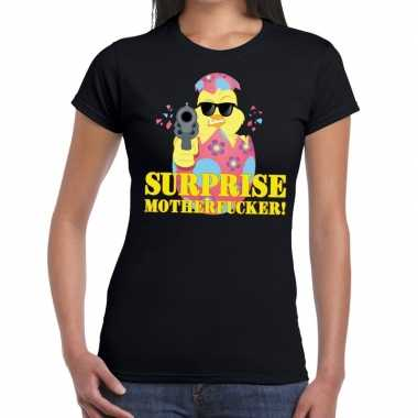 Fout paas t shirt zwart surprise motherfucker dames