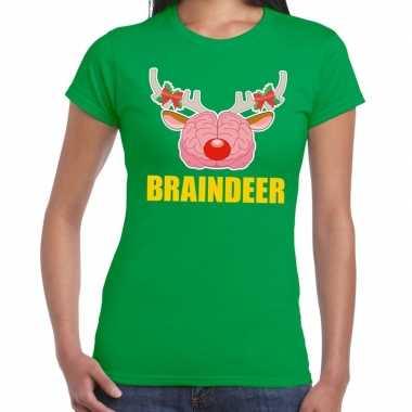 Foute kerst t shirt braindeer groen dames