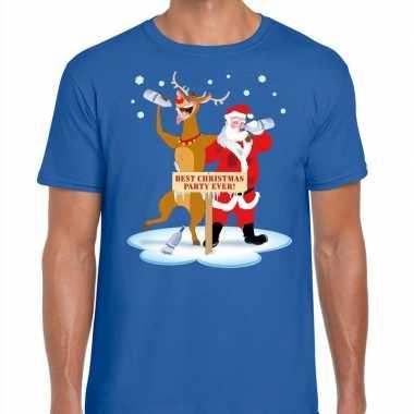 Foute kerst t shirt dronken kerstman rudolf blauw heren